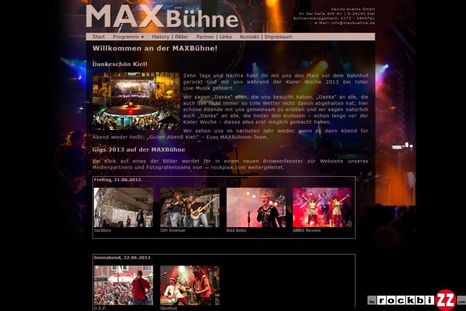 Bühnenwebseite www.maxbuehne.de